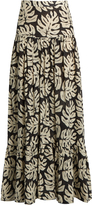 Chloé Leaf-print gathered cotton-blend maxi skirt