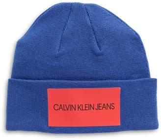 Calvin Klein Printed Patch Cuff Fitted Beanie