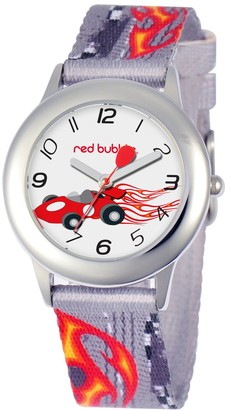 Red Bubble Red-Bubble Watch W002089 Boy's Teaching Quartz White Dial Fabric Strap Multicoloured