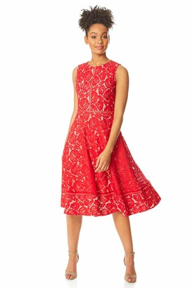 Roman Originals Women Lace Skater Dress - Ladies Fit and Flare Evening Occasion Wear Round Neck Sleeveless Floral Knee Length Classic Elegant Dresses - Navy - Size 16