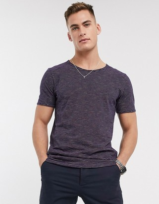 Selected t-shirt with scoop neck in marl stripe pink