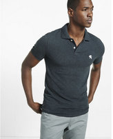 Express fitted heathered small lion polo