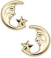 Macy's 10k Gold Earrings, Moon and Star Stud Earrings