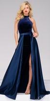 Jovani High Collar Velvet High Slit Evening Dress