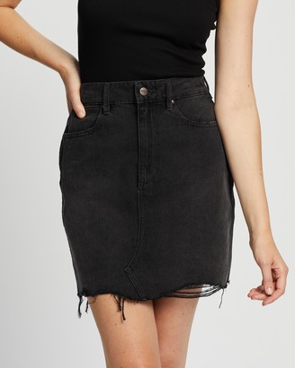 Wrangler Women's Black Denim skirts - Hi Repair Mini Skirt - Size 7 at The Iconic