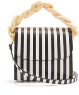 Marques Almeida MARQUES'ALMEIDA Oversized curb-chain striped leather shoulder bag