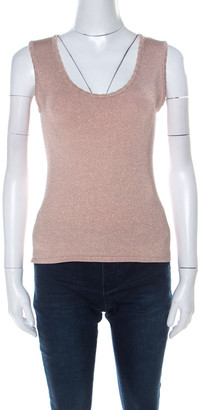 M Missoni Blush Pink and Gold Lurex Knit Sleeveless Top M