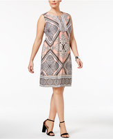 NY Collection Plus Size Embellished Printed Shift Dress