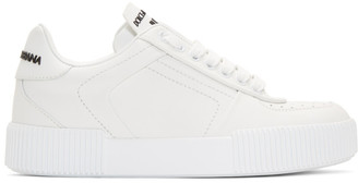 Dolce & Gabbana White Leather Low-Top Sneakers