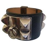 Hermes Black Leather Bracelet Medor