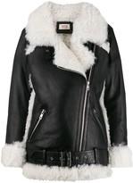 Yves Salomon Meteo textured lined biker jacket