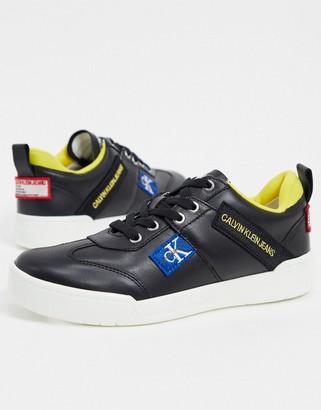 Calvin Klein nilla leather logo trainers in black