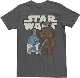 Marvel Men's Star Wars Last Jedi R2-D2, Porgs, and Chewie Cutie Cartoon Tee