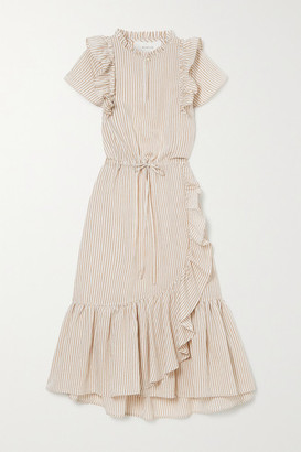 MUNTHE Moderate Ruffled Striped Voile Midi Dress - Ecru
