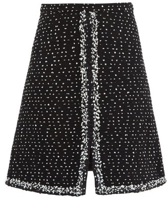 Giambattista Valli Slit-hem Wool-blend Boucle-tweed Skirt - Black Multi