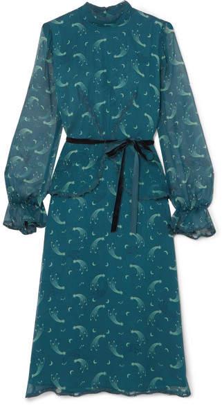 Anna Sui Star Burst 印花褶皱真丝雪纺连衣裙