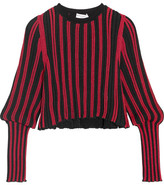 Sonia Rykiel Metallic Striped Stretch-knit Top - Red