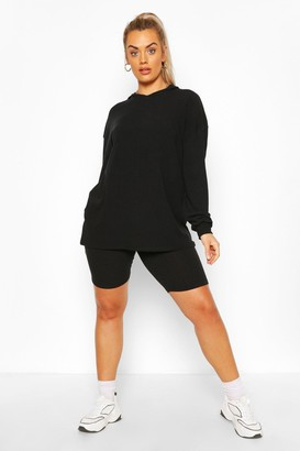 boohoo Plus Soft Rib Hoody & Cycle Short Set