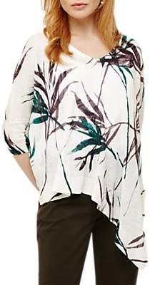 Phase Eight Bora Bamboo Print Linen Knit Top, White/Multi