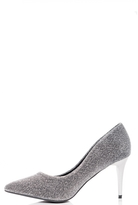 Quiz Silver Textured Pointed Mid Heel Courts