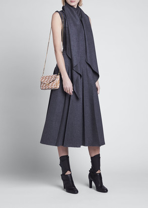 Fendi Wrap-Collar Flannel Pleated Midi Dress