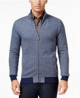 Tasso Elba Men's Big and Tall Herringbone Colorblocked Zipper Sweater Jacket, Only at Macy's