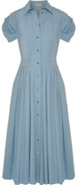 Michael Kors Pleated Cotton-blend Poplin Midi Dress - Sky blue
