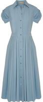Michael Kors Pleated Cotton-blend Poplin Midi Dress - Sky blue