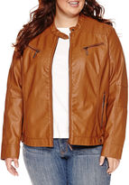 Joujou Jou Jou Center-Zip Pleather Jacket - Juniors Plus