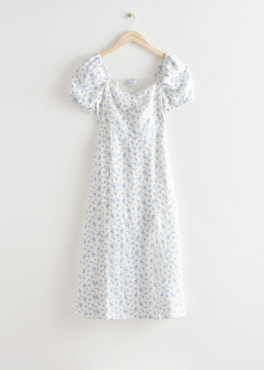 And other stories Puff Sleeve Linen Midi Dress