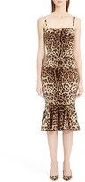Dolce & Gabbana Stretch Cady Leopard Print Ruched Dress