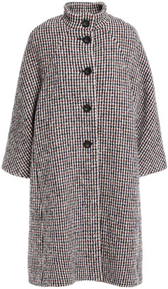 Maje Houndstooth Wool-blend Boucle-tweed Coat
