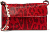 Valentino Studded leopard-print calf hair-effect leather shoulder bag