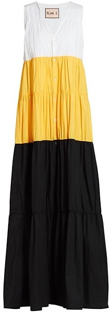 Plan C Poplin Colorblock Maxi Dress