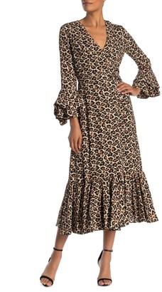 Diane von Furstenberg Madeline Print Wrap Ruffle Trim Midi Dress