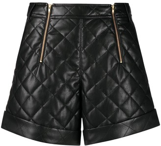 Self-Portrait Quilted Zip-Detail Shorts