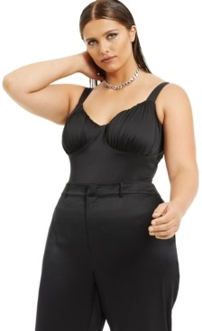 Danielle Bernstein Plus Size Satin Bodysuit, Created for Macy's