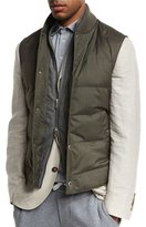 Brunello Cucinelli Quilted Down Vest w/Zip-Out, Hunter