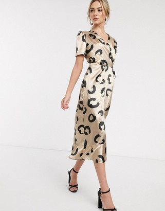 John Zack wrap front midi dress in squiggle heart