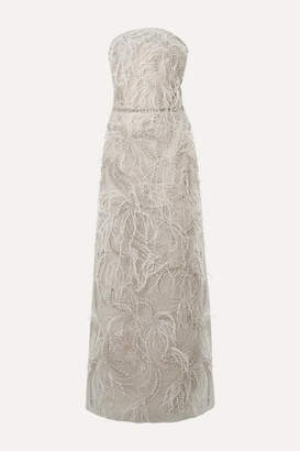 Marchesa Strapless Embellished Feather-trimmed Tulle Gown - Light gray