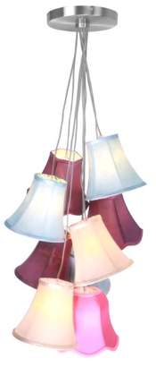 Premier Housewares E14 (Small Edison Screw) 9 Shade Tiered Pendant Light, 25 W - Multi-Coloured