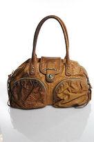 Botkier Beige Leather Snakeskin Embossed Leather Medium Satchel Handbag