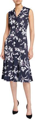Maggy London Tie-Neck Midi Dress