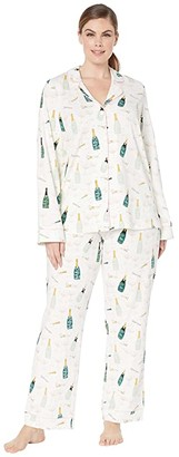Bedhead Pajamas Plus Size Long Sleeve Classic Notch Collar Pajama Set (Cheers) Women's Pajama Sets
