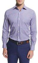 Peter Millar Mini-Check Woven Sport Shirt, Blue