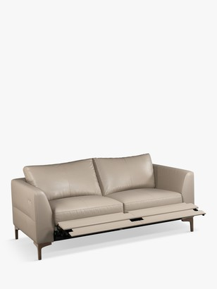 John Lewis & Partners Belgrave Motion Medium 2 Seater Leather Sofa with Footrest Mechanism, Dark Leg