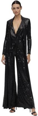 Elie Saab Long Sequined Jumpsuit W/ Scarf