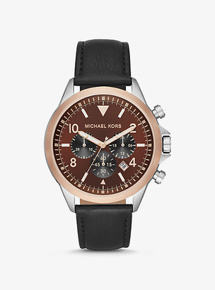 Michael Kors Oversized Gage Leather and Two-Tone Watch - Black