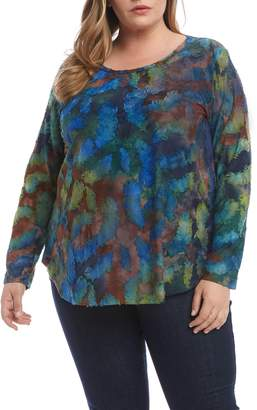 Karen Kane Tie Dye Burnout Long Sleeve Shirttail Tee