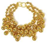 Kenneth Jay Lane Choker Necklace Bib Metallic Beads with Drops Chunky Costume Fashion Jewelry